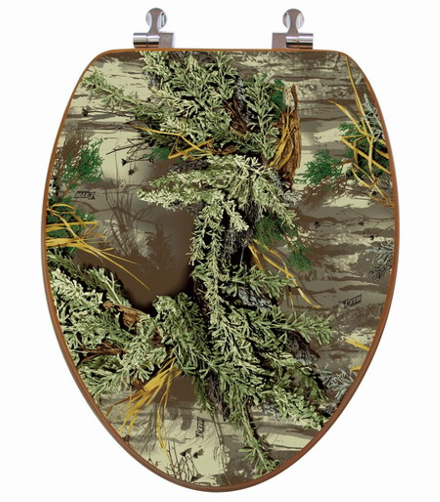 3d Upland Series Elongated Toilet Seat W Chromed Metal Hinges Wood Realtree Max 1 Topseat Toilet Seats