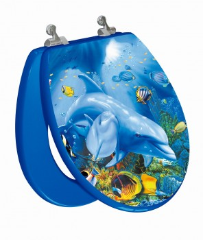 Sea Turtle Round Toilet Seat Open