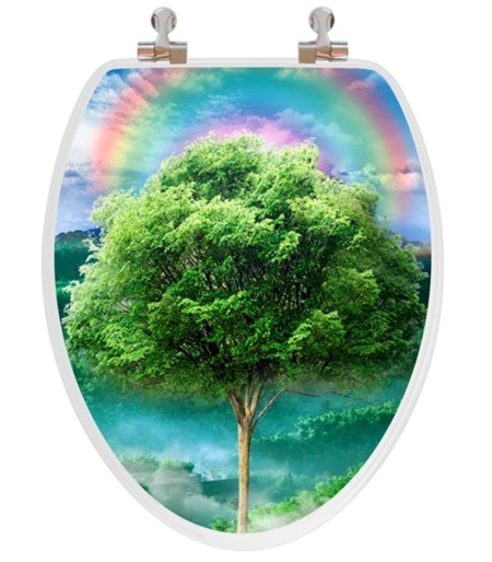 3D Tree Seasons Wooden Toilet Seat