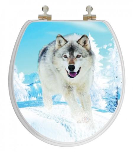 3D Snow Wolf Round Toilet Seat