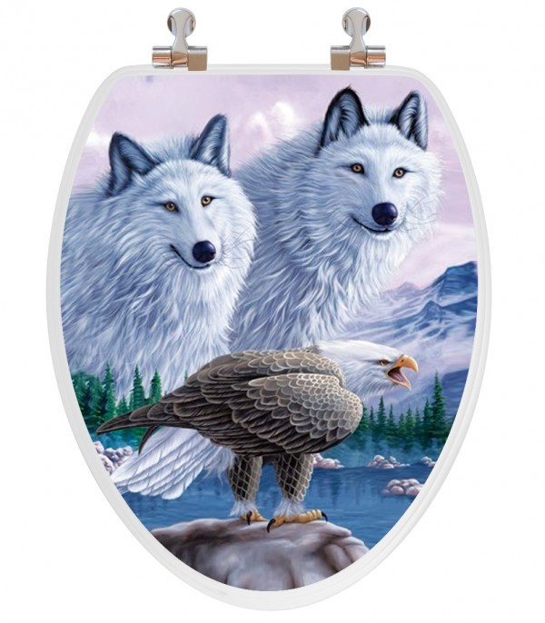 Wolves and Eagle Toilet Seat