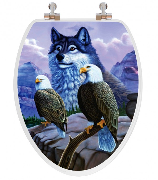 Wolf and eagles toilet seat
