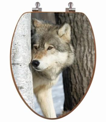 Wolf Birch Tree Toilet Seat