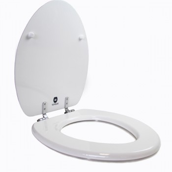 White Elongated Chromed Metal Hinges Toilet Seat Open