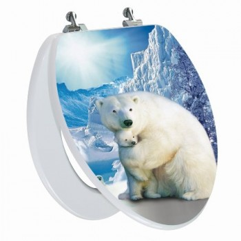 White Polar Bear Elongated Toilet Seat Open
