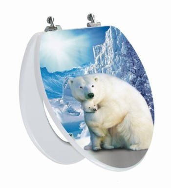 White Polar Bear Elongated Toilet Seat Open