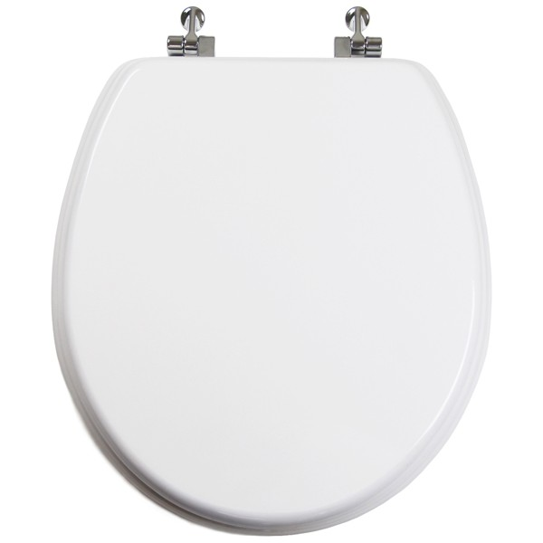wooden white toilet seat. White Round Wood Toilet Seat Chromed Metal Hinges Closed W  Topseat