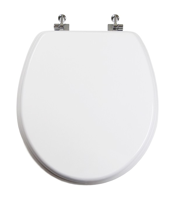 White Round Wood Toilet Seat Chromed Metal Hinges Closed