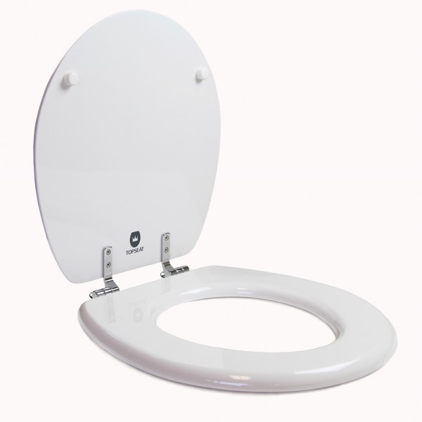 Round Toilet Seat W Chromed Metal Hinges Wood White