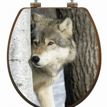 Wolf Birch Tree Toilet Seat