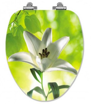 White Lily Elongated Toilet Seat