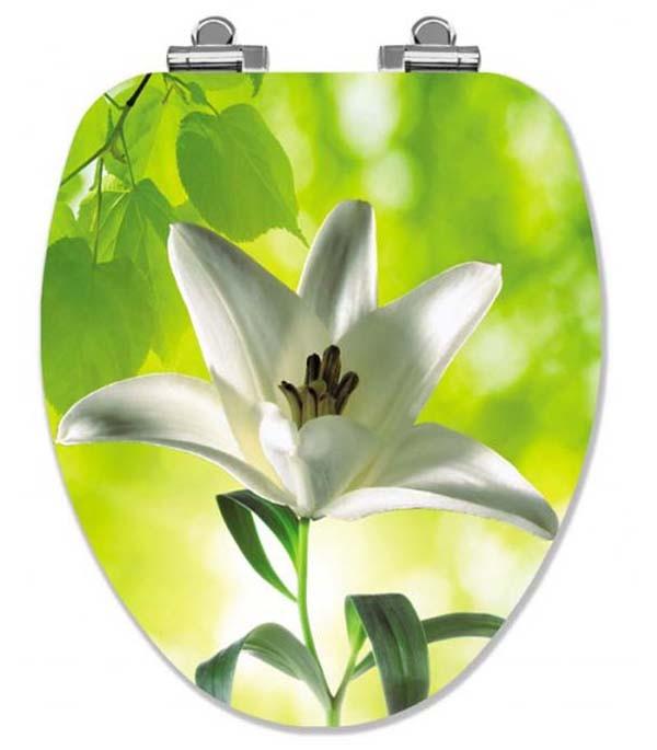 White Lily Elongated Toilet Seat