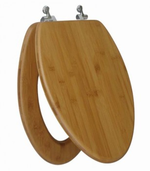 Bamboo Elongated Toilet Seat Open