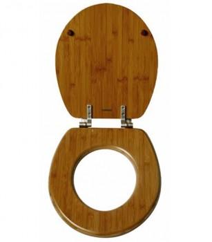 Bamboo Round Toilet Seat Open
