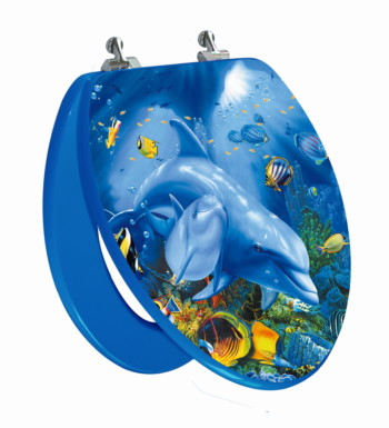 Sea Turtle Elongated Toilet Seat Open