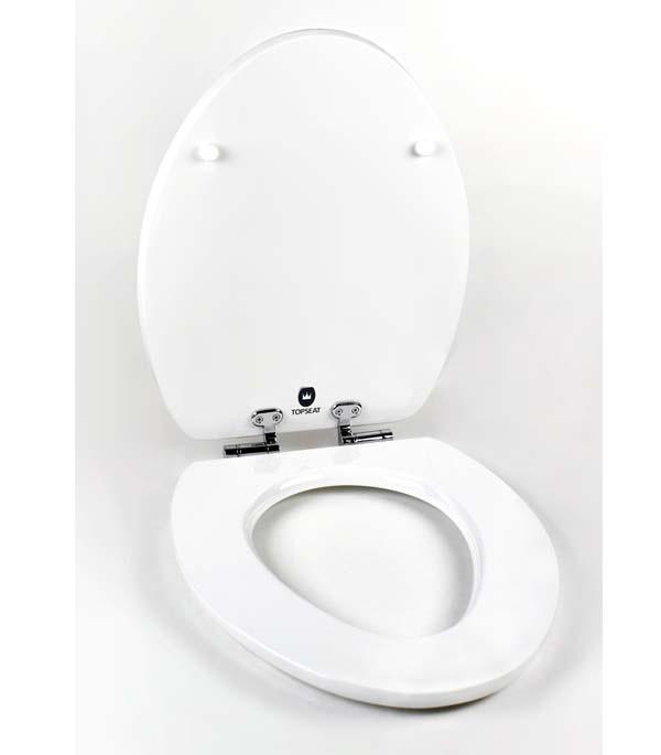 white toilet seat open