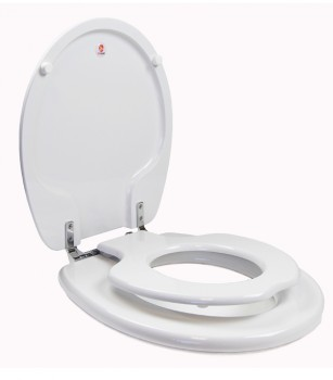 TinyHiney Potty Round CP Hinge Toilet Seat Open Side View