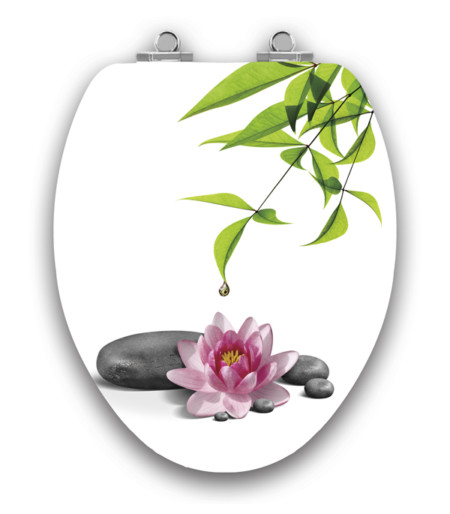 Art of Acryl Elongated Toilet Seat, Water Lily Closed