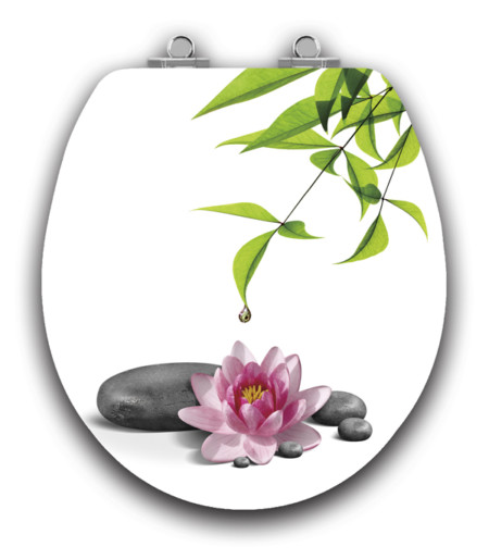 Art of Acryl Round Toilet Seat, Water Lily Closed